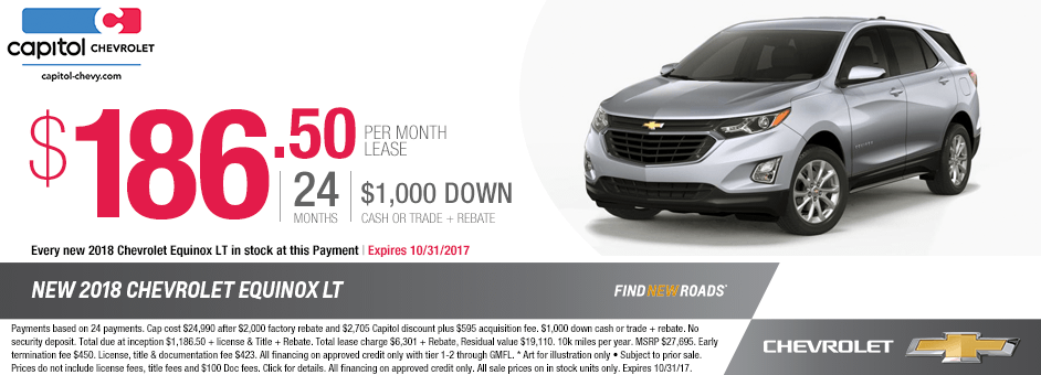 Save on a 2018 Equinox LT with our lease special at Capitol Chevrolet in Salem, OR