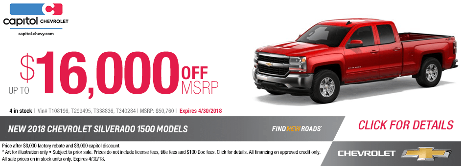 New 2018 Chevrolet Silverado 1500 Models Special Purchase Savings Offer in Salem, Oregon