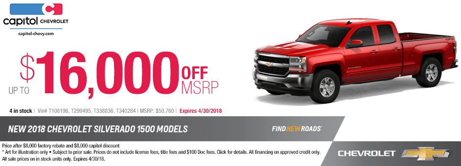 New 2018 Chevrolet Silverado 1500 Models Special Purchase Savings Offer in Salem, Oregon