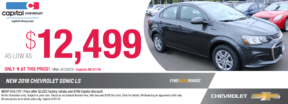 2018 Sonic sales special at Capitol Chevrolet in Salem, Oregon
