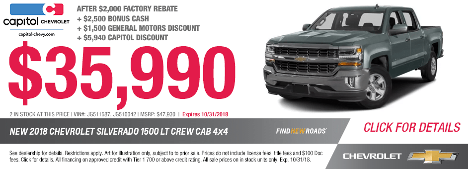 New 2018 Chevrolet Silverado LT Crew Cab 4x4 Special Discount Offer in Salem, Oregon