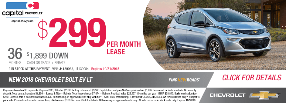 All New 2018 Chevrolet Bolt EV Special Discount Lease Offer in Salem, Oregon