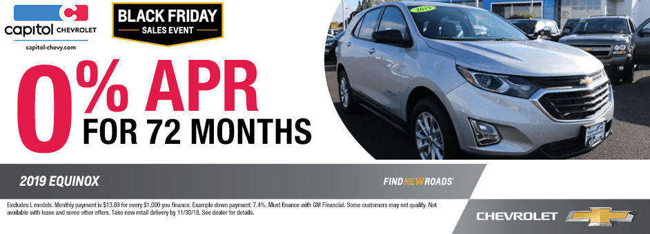 2019 Equinox 0% APR for 72 Months Finance Special at Capitol Chevrolet in Salem, Oregon