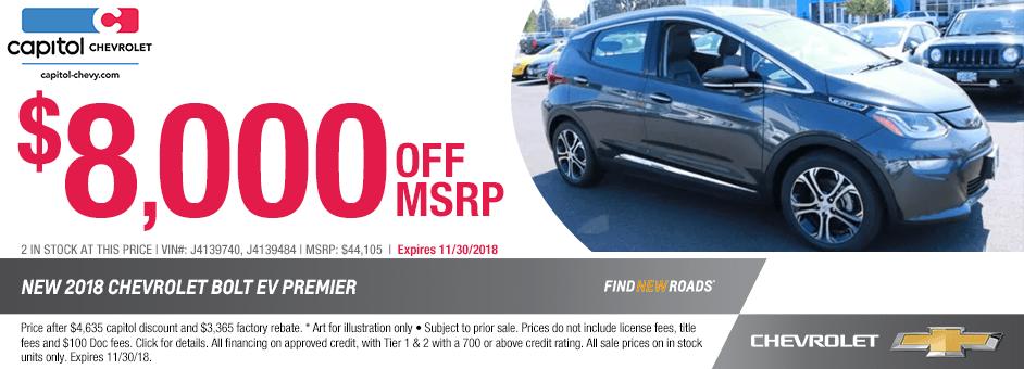 2018 Chevrolet Bolt EV Premier Sales Special in Salem, Oregon