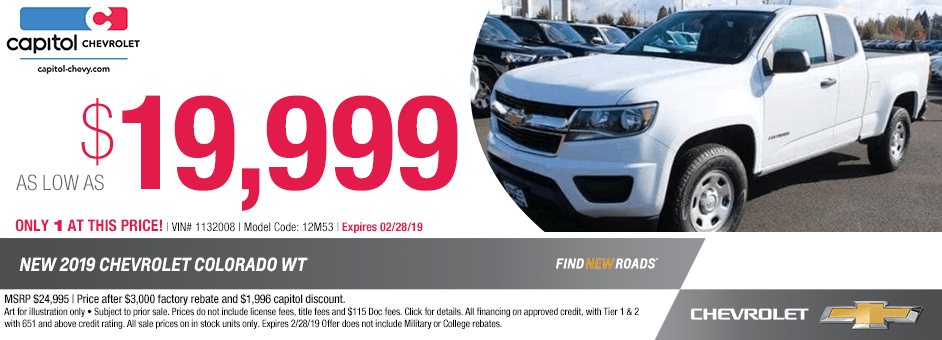New 2019 Chevrolet Colorado WT Special Purchase Savings Discount Offer in Salem, Oregon