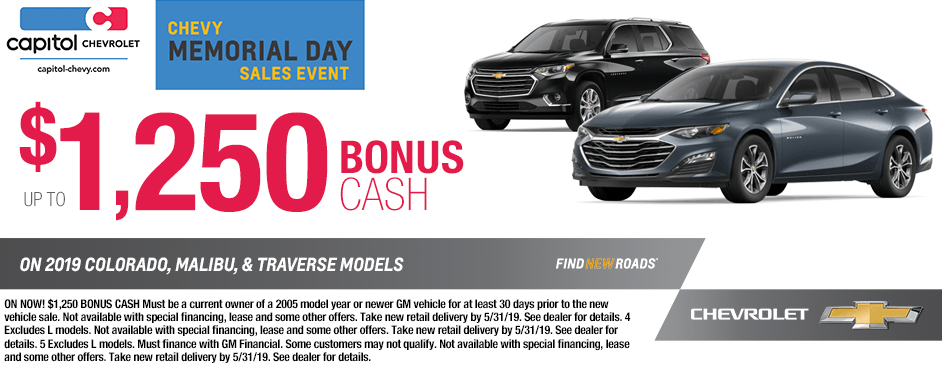 Special Discount Savings Offer On New 2019 Colorado, Malibu and Traverse Models in Salem, Oregon