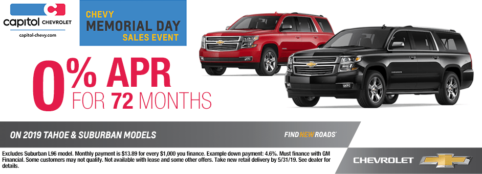 Special Discount Financing Savings Offer On 2019 Chevrolet Tahoe and Suburban Models in Salem, Oregon