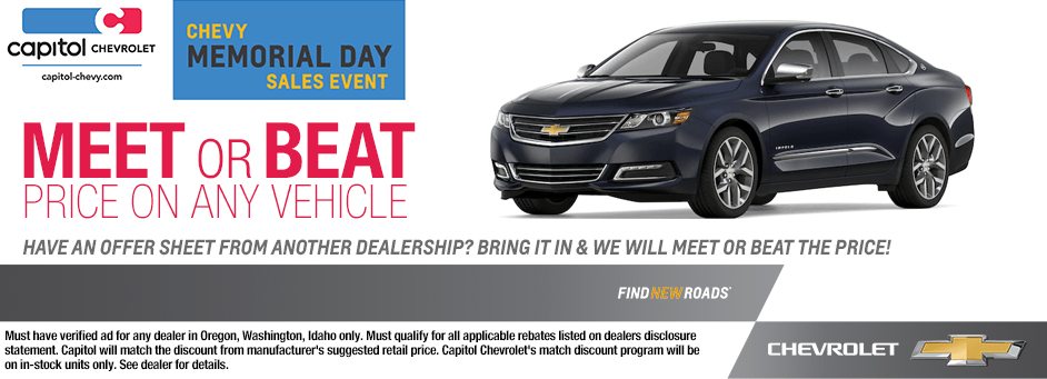Capitol Chevrolet will Meet or Beat The Price Of Any Vehicle in Salem, Oregon