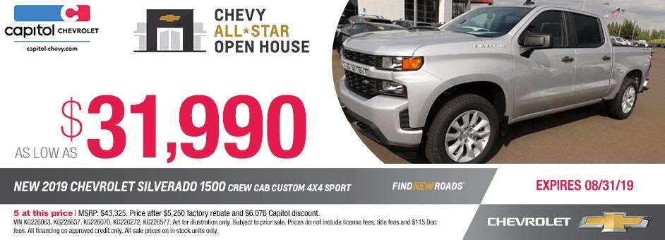 2019 Chevrolet Silverado 1500 Crew Cab Custom 4x4 Sport Purchase Special in Salem, OR