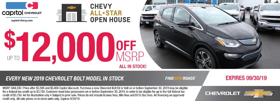 ew 2019 Chevrolet Bolt Special Discount Savings Offer in Salem, Oregon