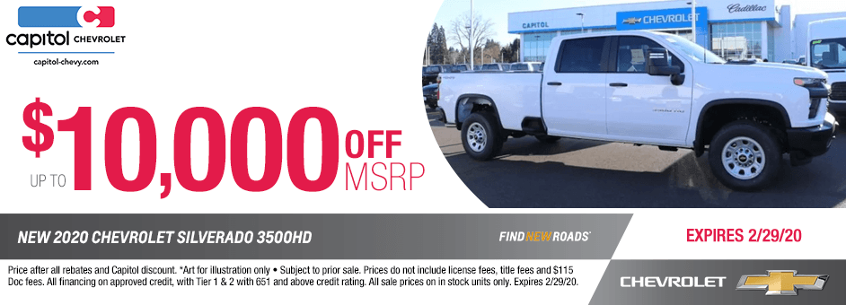 All-New 2020 Chevrolet 3500HD Purchase Special in Salem, OR