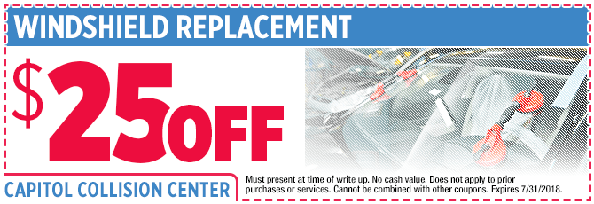 Windshield Replacement Bodyshop Special at Capitol Collision Center