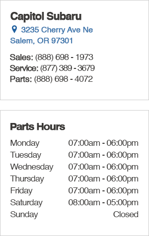 Capitol Subaru Parts Hours and Location Salem, OR