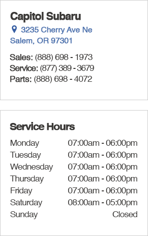 Capitol Subaru Service Department Hours, Location, Contact Information