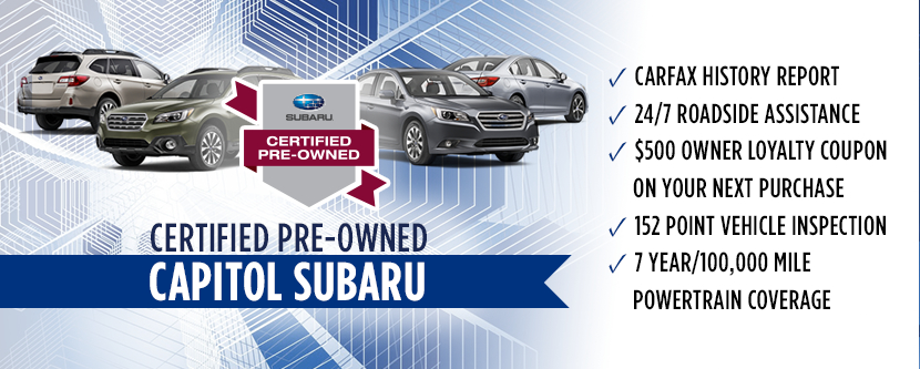 Capitol Subaru Certified Pre Owned Program Used Car Sales