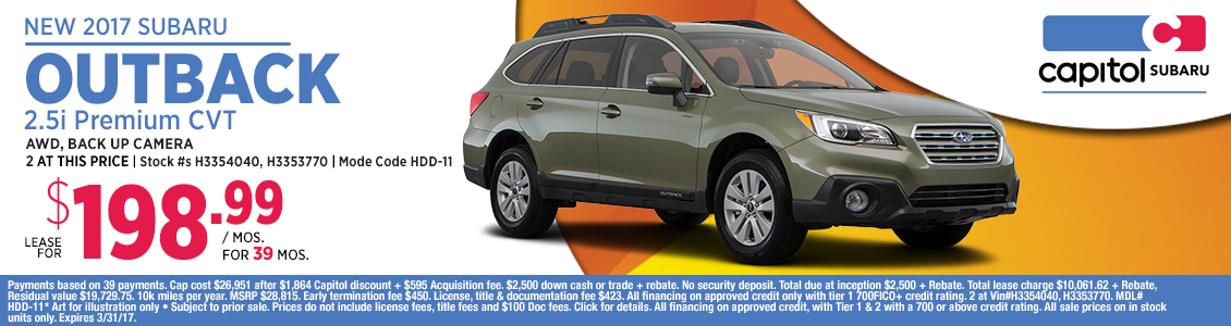 2017 Subaru Outback 2.5i Premium Lease Special in Salem, OR