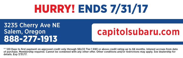 Hurry in today to save at Capitol Subaru of Salem
