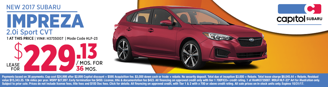 2017 subaru Impreza 2.0i Sport CVT low payment lease special in Salem, OR