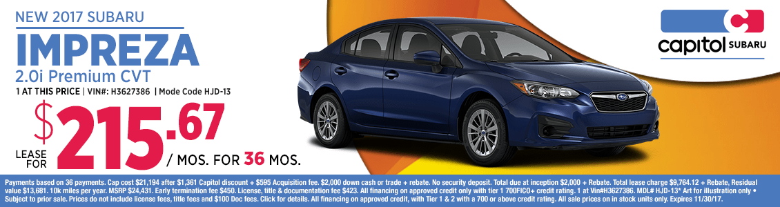 Lease a 2018 Subaru Impreza 2.0i Premium at special low monthly payment in Salem, OR