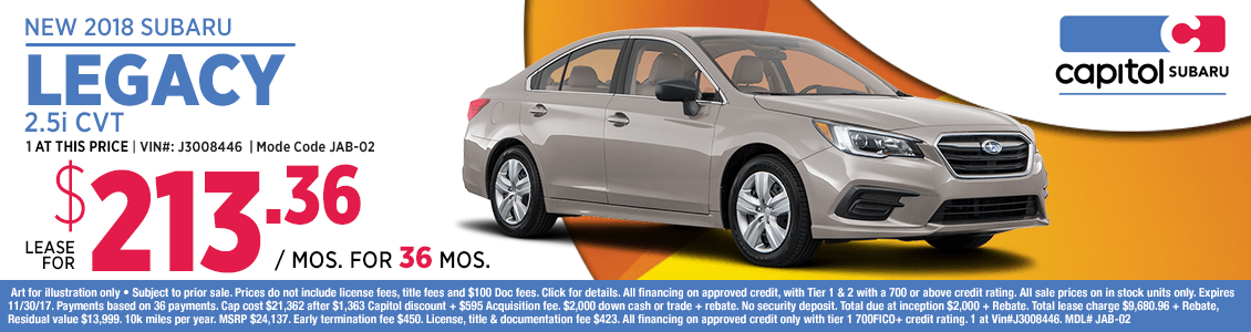 Lease a 2018 Subaru Legacy 2.5i CVT at special low monthly payment in Salem, OR