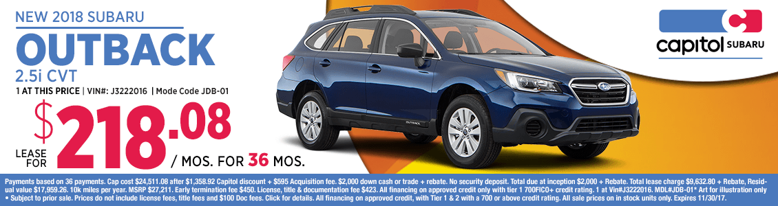 Lease a 2018 Outback 2.5i CVT at special low monthly payment in Salem, OR