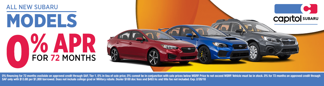 All New Subaru Models 0% APR for 72 Months in Salem, OR