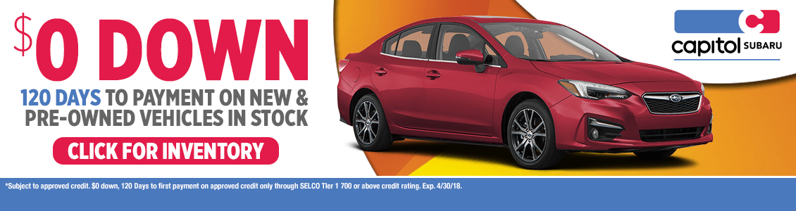 Special No Money Down Financing Event at Capitol Subaru serving Salem, OR