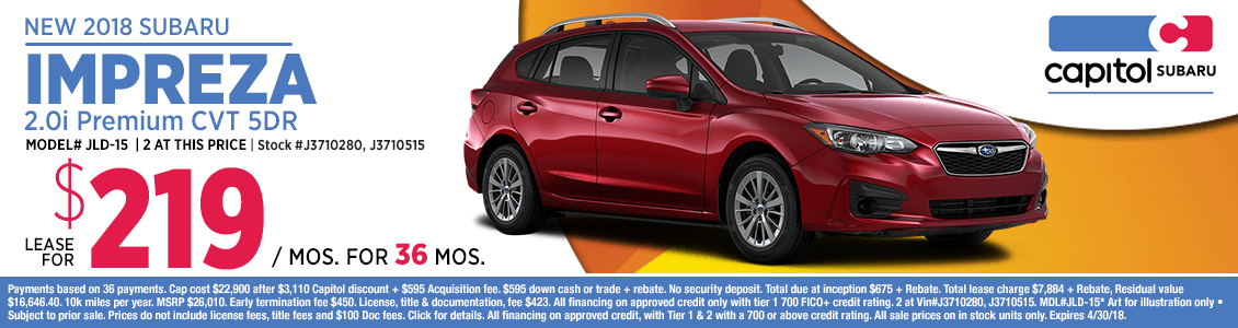 Buy a 2018 Impreza 2.0i Premium CVT 5dr at special lease offer savings in Salem, OR