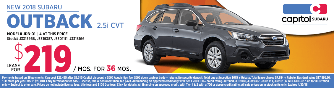 Lease a 2018 Outback 2.5i CVT at special lease savings in Salem, OR