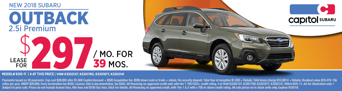 2018 Subaru Outback 2.5i Premium Low Payment Lease Special at Capitol Subaru in Salem, OR