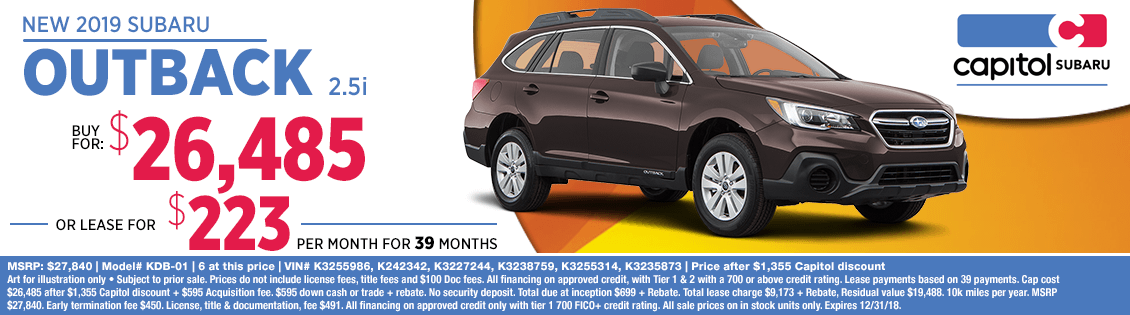 Lease or Purchase a 2019 Subaru Outback 2.5i for a Special Price in Salem, OR