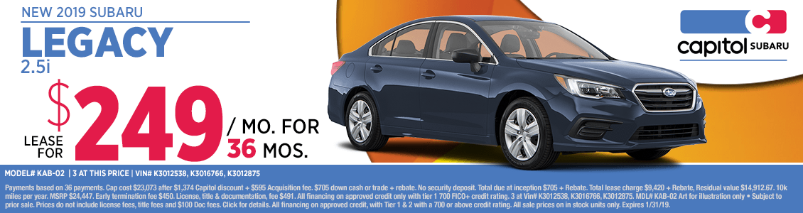 Lease a new 2019 Subaru Legacy 2.5i at special discounted savings in Salem, OR