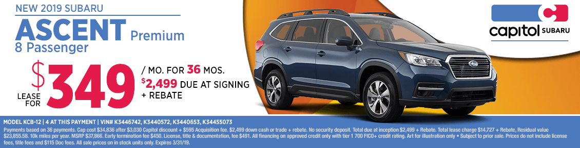 Lease a new 2019 Subaru Ascent Premium - 8 Passenger for a special monthly price in Salem, OR