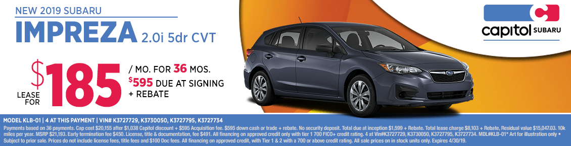 Lease a new 2019 Subaru Impreza 2.0i 5-dr CVT this month with this special discounted lease savings in Salem, OR