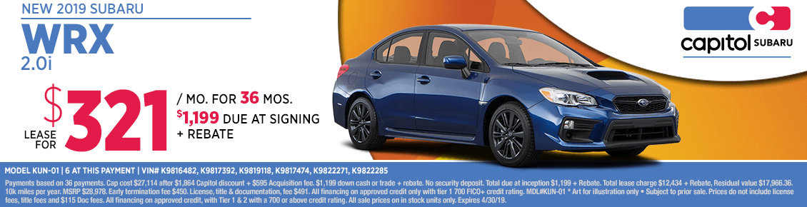 Lease a new 2019 Subaru WRX 2.0i at special discounted lease savings in Salem, OR