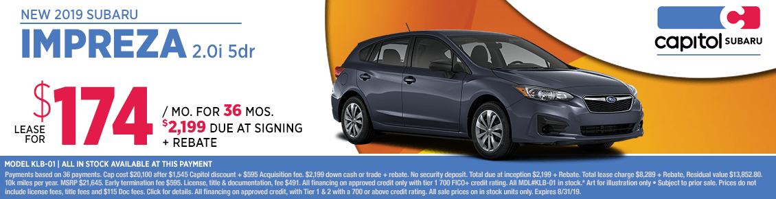 2019 Subaru Impreza 2.0i Low Payment Lease Special in Salem, OR