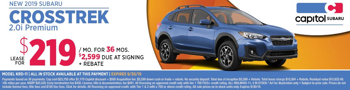 2019 Crosstrek 2.0i Premium Lease Special at Capitol Subaru in Salem, OR