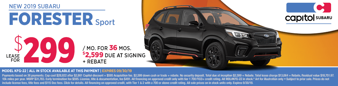 2019 Forester Sport Low Payment Lease Special at Capitol Subaru in Salem, OR