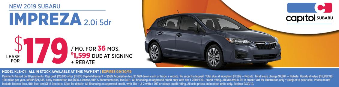 2019 Impreza 2.0i Lease Special at Capitol Subaru in Salem, OR