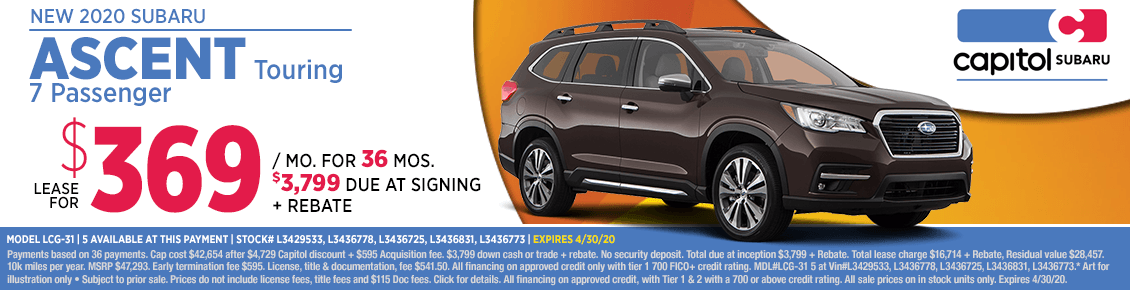 Lease a new 2020 Subaru Ascent Touring 7 Passenger at special discounted lease savings in Salem, OR