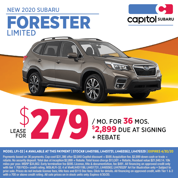 Lease a new 2020 Subaru Forester Limited at special discounted lease savings in Salem, OR