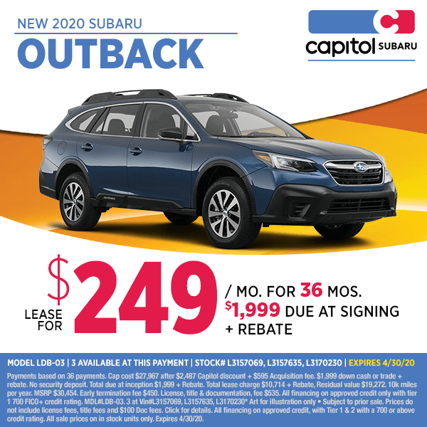 Lease a new 2020 Subaru Outback at special discounted lease savings in Salem, OR
