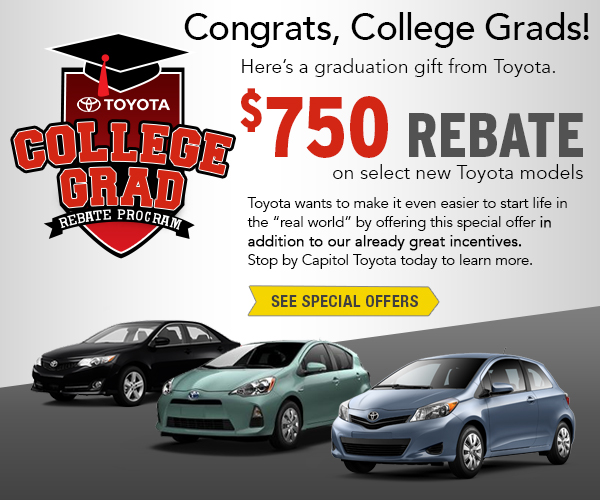 Capitol Toyota College Grad Rebate Program Serving Salem, Oregon