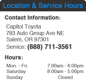 Capitol Toyota Service Department Hours, Location, Contact Information