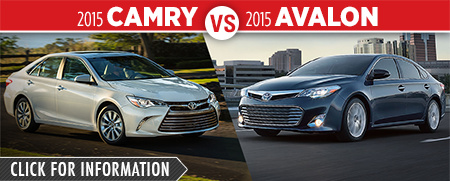 Click To Compare The 2015 Toyota Camry & Avalon Models at Capitol Toyota Serving Salem, OR