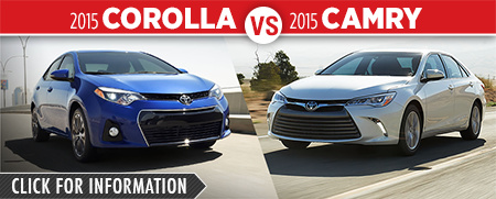 Click To Compare The 2015 Toyota Corolla & Camry Models at Capitol Toyota Serving Salem, OR