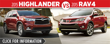 Click To Compare The 2015 Toyota Highlander & RAV4 Models at Capitol Toyota Serving Salem, OR