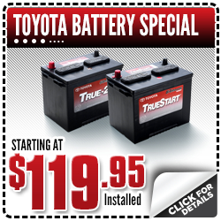 Genuine Toyota TrueStart Battery Installed Special Service Discount Coupon at Capitol Toyota