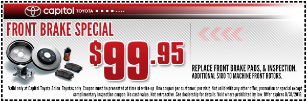 Capital Toyota has a range of service and parts specials for drivers in the Soddy-Daisy and Cleveland, TN areas to enjoy, so browse them all before visiting us in Chattanooga!Phone: ()