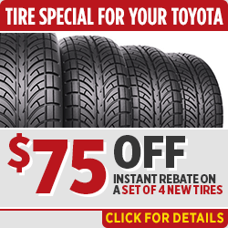 Click to browse our tire rebate service special at Capitol Toyota in Salem, OR